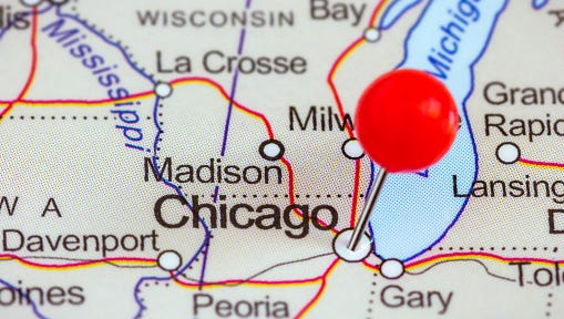 Pin on a map of Chicago
