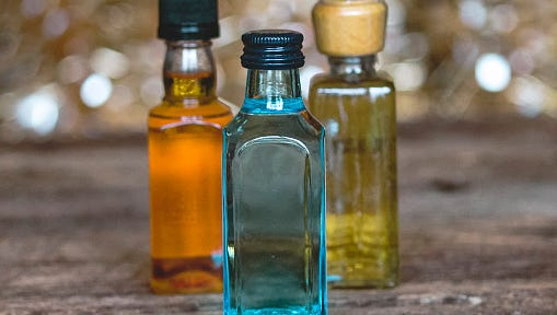 Minibar bottles of alcohol.