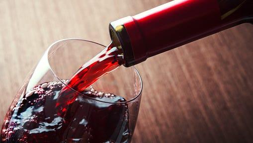 Closeup of red wine.