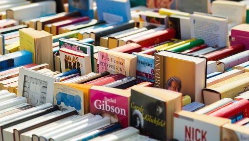 Full Frame Shot Of Books For Sale