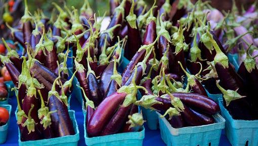 Eggplants at the farmer's market