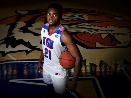 Christian Mekowulu, a forward for the Tennessee State