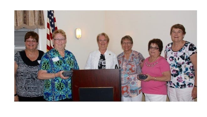 (From left) Donna Pio, Cathy Bennett, Mary Ellen Cropper of Absecon, new vice president of the Southern District Federation of Women's Clubs, Barbara Westog, Pam Mc Namee and Marilyn Goldstine, all members of the Millville Woman's Club except Cropper, recently attended the New Jersey State Federation of Women's Clubs dinner in Hammonton.