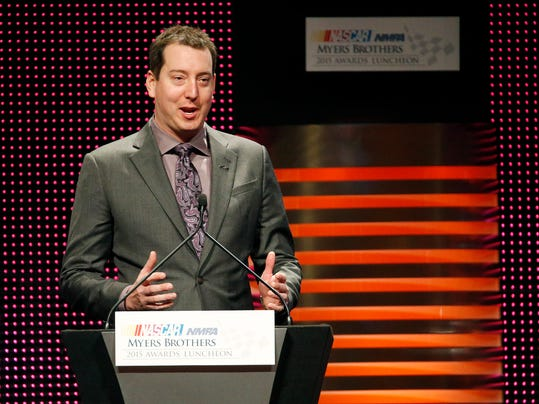 Kyle Busch speaks after winning the Goodyear NASCAR Series Champion Award during the NASCAR NMPA Myers Brothers Awards Luncheon Thursday, Dec. 3, 2015, in Las Vegas. (AP Photo/John Locher)