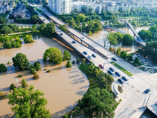 This is the flooded Buffalo Bayou near downtown Houston,
