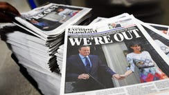 Copies of the London daily newspaper the Evening Standard
