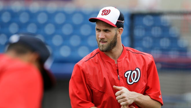 Bryce Harper is moving from right field to left this season.