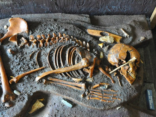 Replica of a burial site at the Windover dig. The new