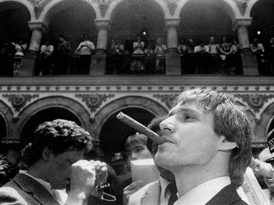 Goalie Phil Myre puffs on a victory cigar at City Hall following the Amerks Calder Cup parade in 1983. Myre will be among the alums returning for the 60th anniversary celebration game on Jan. 8.