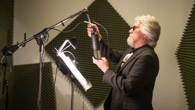 Jim Cummings adjusts a microphone in the studio of Soundstage 1 Productions in Climax.