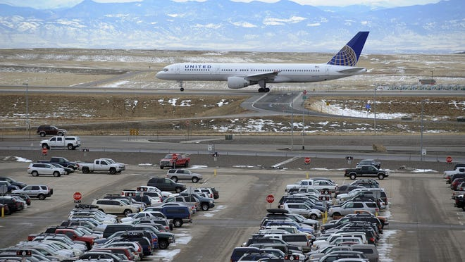 A United Airlines airplane taxis for a takeoff at Denver International Airport in 2011.
