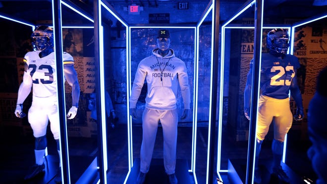 The new Jordan Jumpman Brand Michigan football uniforms were revealed Tuesday at the Ford Piquette Avenue Plant in Detroit. The goal is for the Wolverines to become synonymous with the Jumpman logo.