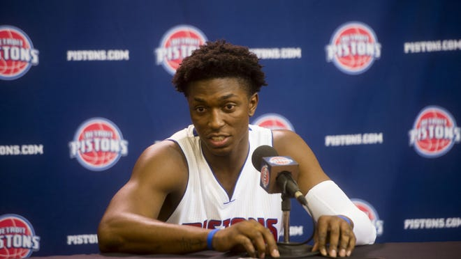 """Forward Stanley Johnson has the skills to create turnovers on defense. """"He's really starting to be that anchor for us already,"""" Reggie Jackson said."""