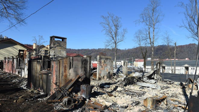 Property damage inside the city of Gatlinburg after wildfires in Pigeon Forge and Gatlinburg.