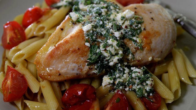 Chicken with Goat Cheese Vinaigrette and Pasta