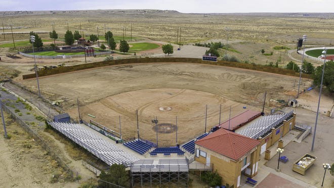 An Aerial view of the renovations taking place at the Rawlings Baseball Field.