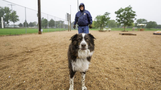 Jim Even and his Australian Shepherd, Leo, brave the cold for a little fun at the City Park Dog Park on Tuesday.