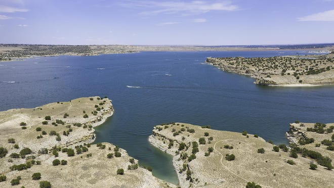 An aerial view on Saturday of Lake Pueblo from the south shore. Since the dam was built, the lake has provided flood control, water for municipal and industrial use along with its many recreational opportunities.