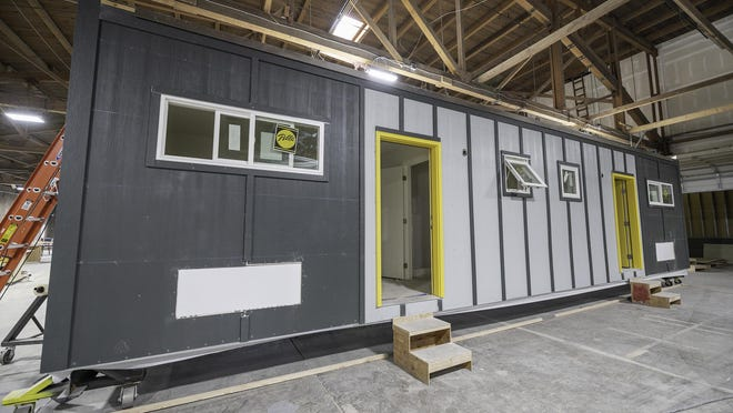 One of the modular housing units that is under construction at the indieDwell facility.