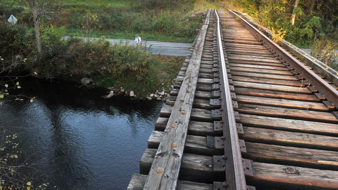 "Conserving Carolina has entered into a contract to buy the ""TR Line"" corridor, shown here as it crosses on a trestle over the Davidson River Road and the Davidson River northeast of Brevard, just upstream from the Davidson River-French Broad River confluece."