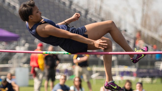 Battle Creek Central's Portia Gregory competes in the high jump at the Lakeview Track and Field Invite on Friday.