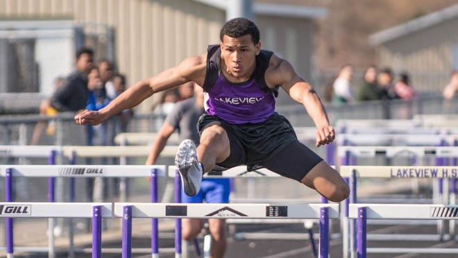 Lakeview senior Daniel Walker competes in the 110 hurdles at the All-City Track Meet at Lakeview on Friday.