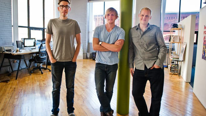 From left, Ian Maroney, Greg Cunneyworth and Joshua Lowery have announced a new name to their downtown advertising, marketing and Web services firm, now called Makeway.
