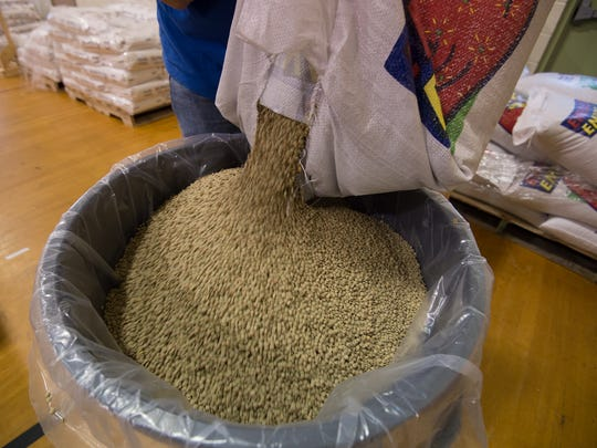 View of lentils which will be in the 100,000 meals they are preparing and shipping to countries around the world during their day long packaging session at Calvary Wesleyan Church in Harrington.
