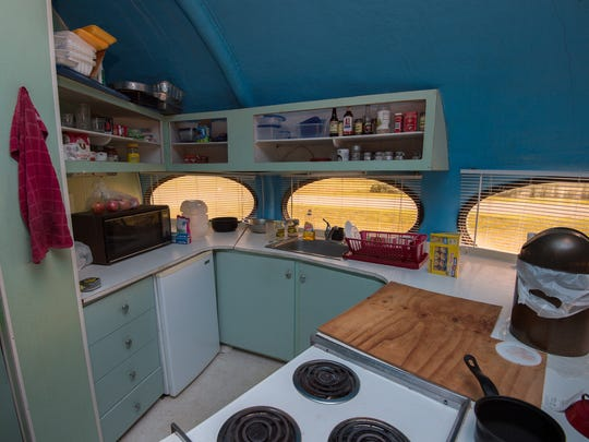 View of the kitchen in the Futuro house in Milton.