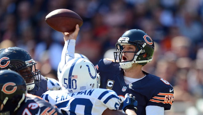 Chicago Bears Jay Cutler passes on the Colts defense in the second half of their game Sunday, September 9, 2012, at Soldier Field in Chicago. Matt Kryger / The Star