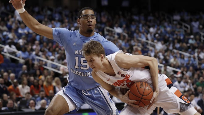 An already polished defender, junior forward Garrison Brooks (15) was one of the few bright spots for the Tar Heels this season. He was named the ACC's most improved player.