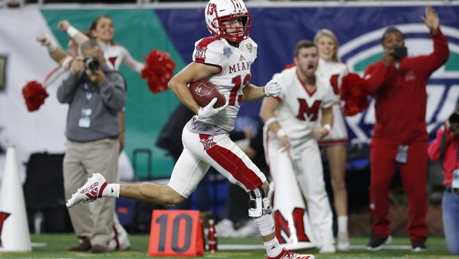 Miami of Ohio wide receiver Jack Sorenson runs for a touchdown during the second half of the Mid-American Conference championship NCAA college football game against Central Michigan, Saturday, Dec. 7, 2019, in Detroit.