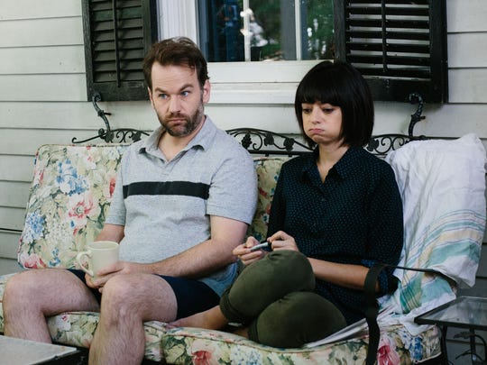 "Mike Birbiglia with Kate Micucci in his 2016 movie comedy-drama ""Don't Think Twice."""
