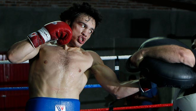 Julio Cesar Chavez Jr. works out during his training camp earlier this month for his rematch Saturday on HBO against Bryan Vera.