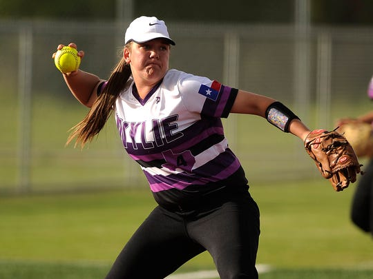 Wylie third baseman Bailey Buck (4) throws out a Brownwood baserunner during the top of the fifth inning of the Lady Bulldogs' 8-7 win on Tuesday, April 4, 2017, at Wylie High School.