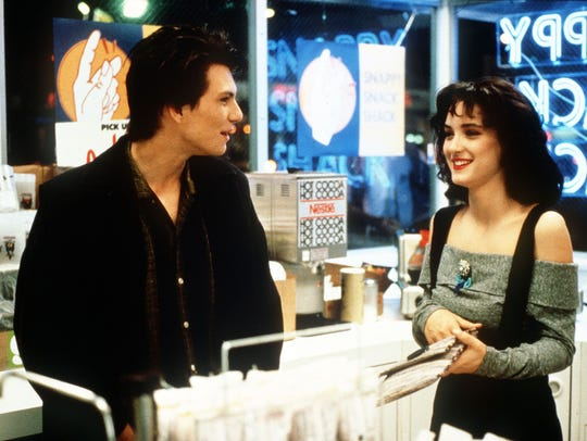 "Christian Slater, left, and Winona Ryder played murderous love interests in the ""Heathers"" film."
