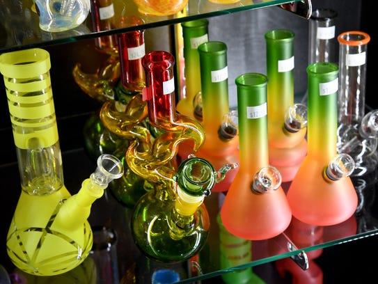 Bongs are displayed at Essence Vegas Cannabis Dispensary