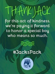 "This Jack's Pack card reminds people to ""pay it forward"" in his memory."
