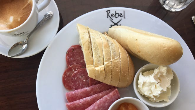 The German breakfast and a cappuccino from Rebel Coffee Roastery in downtown Fort Myers.