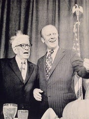 George Aiken, then a U.S. senator, shown in 1974 with President Gerald Ford at a dinner in Burlington to honor Aiken.