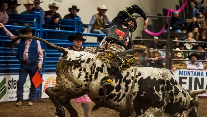 Parker Breding earned a score of 87 points for this ride last January at the 39th Annual Montana Pro Rodeo Circuit Finals in Great Falls.