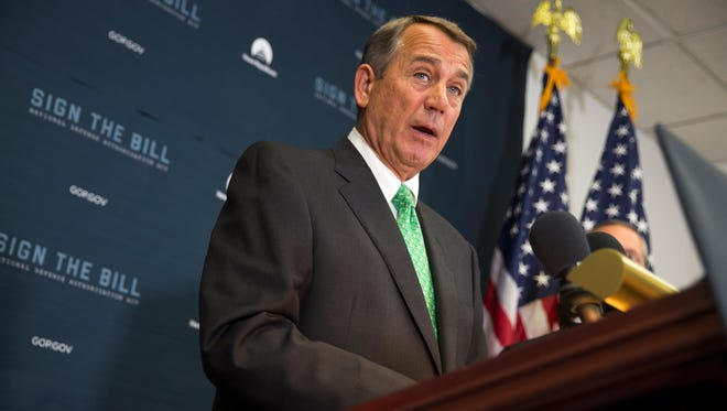 House Speaker John Boehner of Ohio speaks during a news conference on Capitol Hill in Washington, Wednesday, Oct. 21, 2015, following a House GOP conference meeting. Rep. Paul Ryan, R-Wis. is seeking unity in a place it's rarely found, telling House Republicans he will serve as their speaker only if they embrace him by week's end as their consensus candidate.  (AP Photo/Evan Vucci)
