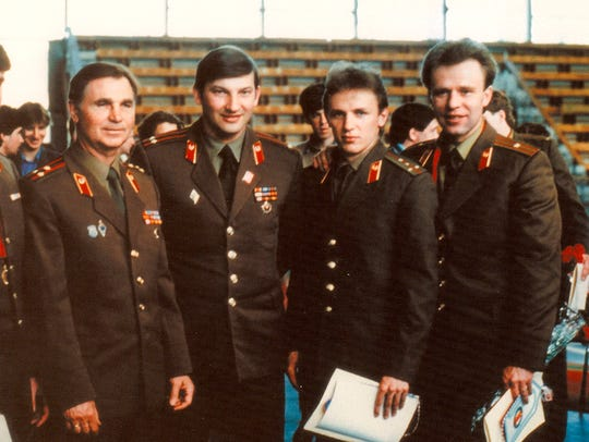 Slava Fetisov, far right, played for the Soviet Red