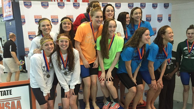 Roberson placed fifth in Saturday's NCHSAA 4-A girls swim meet with only four athletes - Alyssa Arwood, Anna Newman, Camille Long and Mary-O Soule, pictured to the left.