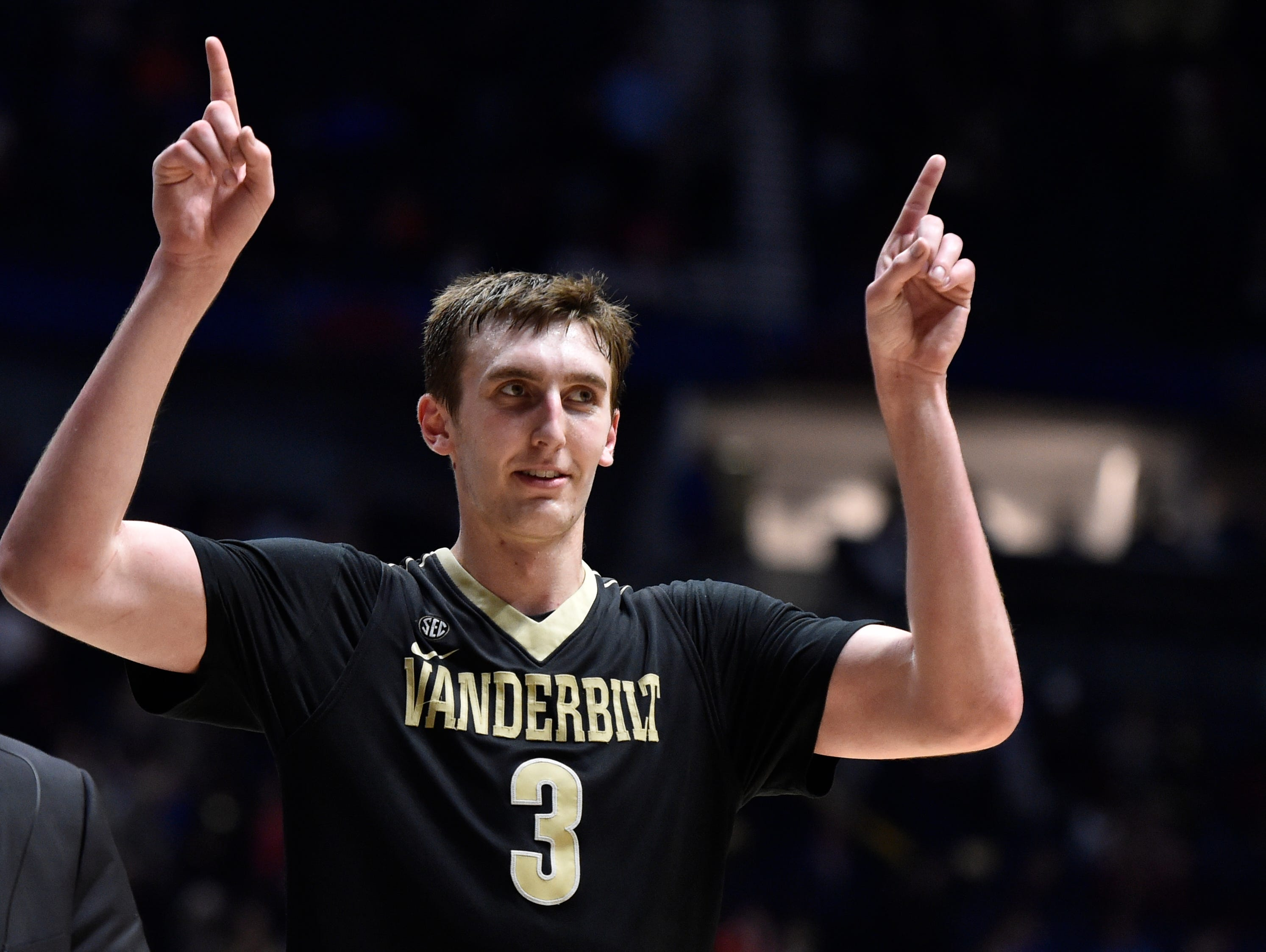 Vanderbilt Commodores forward Luke Kornet (3) celebrates winning their game against Florida in the 2017 SEC Men's Basketball Tournament at Bridgestone Arena Friday, March 10, 2017 in Nashville, Tenn.