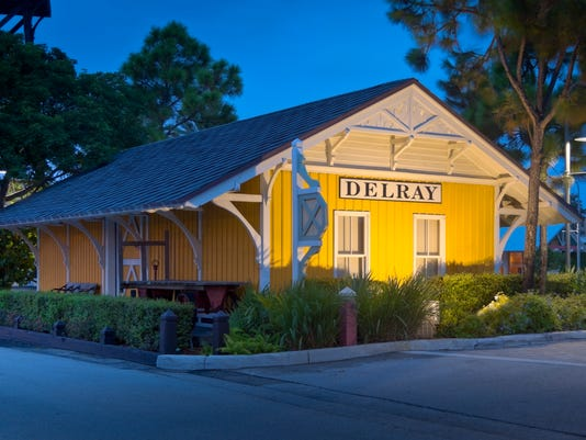 Delray Beach Restored Rail Station Lit as Night Falls