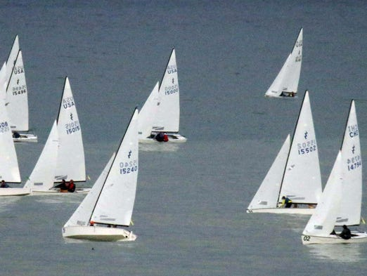 Hundreds of participants battle for position during the Lightning North America regatta Tuesday August 12, 2014 in Sheboygan.  The sailboats will be in daily competition this week.