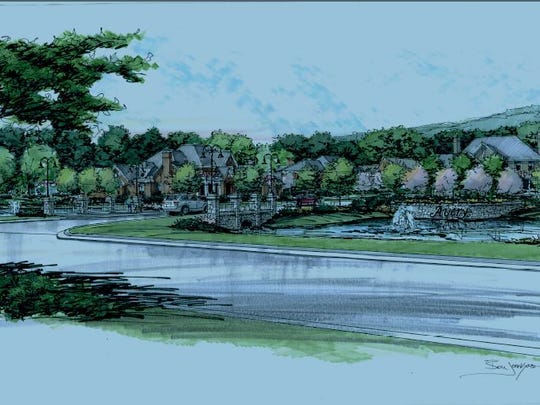 A sketch of the entrance to Avery, a 24-luxury home community planned for Murray Lane in Brentwood.
