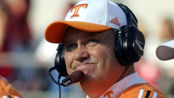 Former Tennessee coach Phillip Fulmer watches from