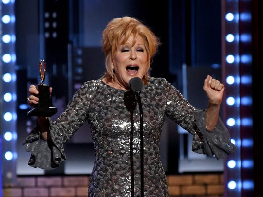 Bette Midler accepts the award for Leading Actress in a Musical at the 71st TONY Awards at Radio City Music Hall on June 11, 2017.